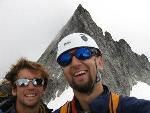 Austin and I on the Torment Forbidden traverse in The North Cascades