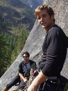 Austin taking me on my first trad climb