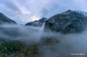 Fog moves in after a fall snow sprinkling in the Irtysh valley, Keketuohai, China.