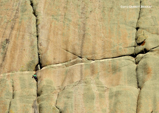 Mike Dobie leads the first pitch on the first ascent of Sky Forge in Keketuohai, China.