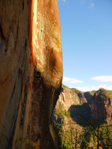 Zhoulei seconding Orange Sky after Darryls first ascent