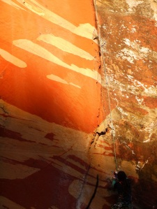 Zhoulei on Orange Sky. The rock patterns inspired the name.