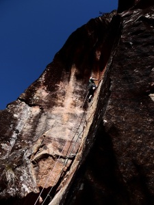 Mike Dobie on the first ascent of Foe-Hammer