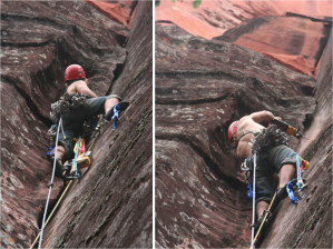 Mike Dobie bolt aiding past the loose rock section on Soul's awakening